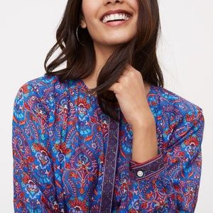 Loft | Floral Medallion Popover Shirt Small